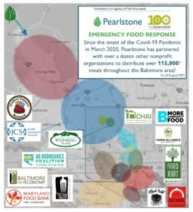 EMERGENCY FOOD RESPONSE Since the onset of the Covid-19 Pandemic in March 2020, Pearlstone has partnered with over a dozen other nonprofit organizations to distribute over 115,000* meals throughout the Baltimore area! *as of August 2021